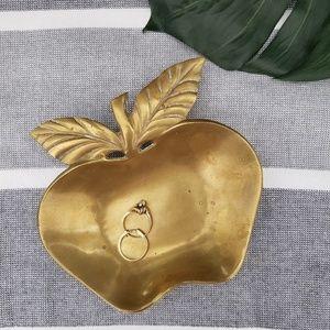 Vintage Brass Boho Apple Shape Trinket Coin Dish